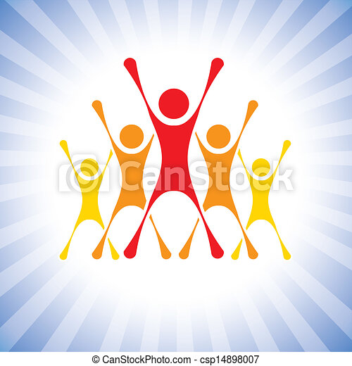 team of achievers celebrating victory in a competition- vector graphic. This illustration can also represent winners of a challenge, excited team members, thrilled people, super achievers, etc - csp14898007