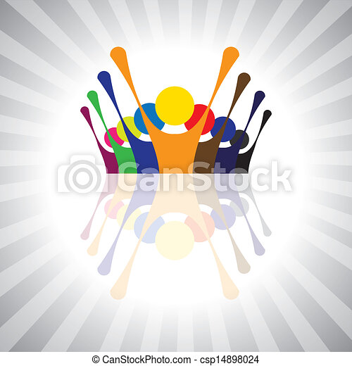 employee union protest or kids having fun together- simple vector graphic. This illustration can also represent children playing,workers demonstration,excited people,animated people,festive mood - csp14898024