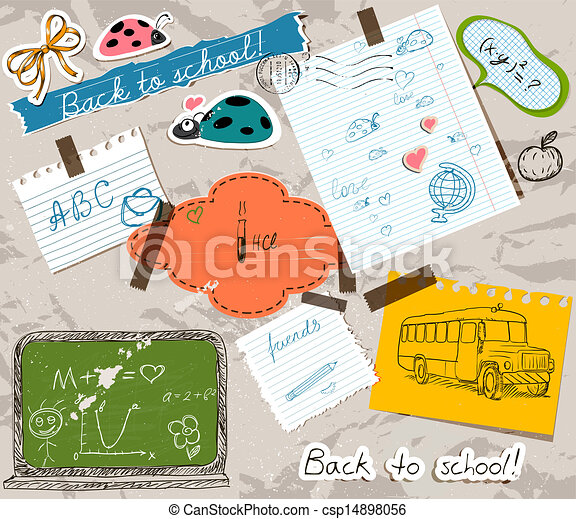 scrapbooking set with school elements. - csp14898056