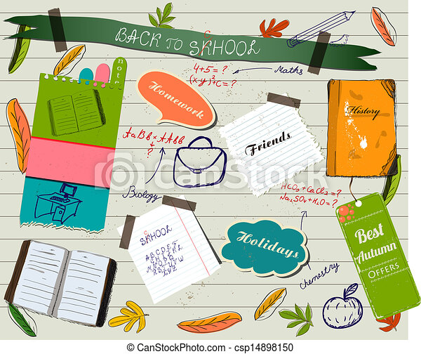 Back to school scrapbooking poster. - csp14898150