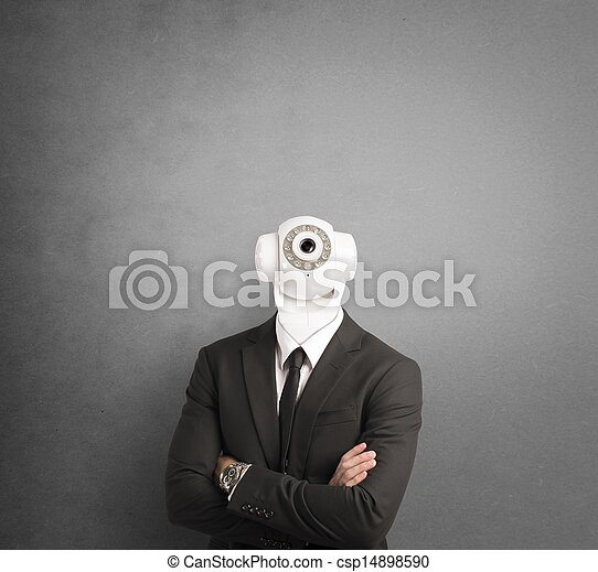 Businessman with security camera - csp14898590