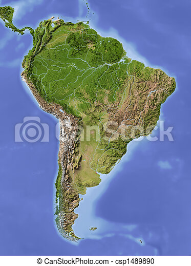 South America, shaded relief map - csp1489890