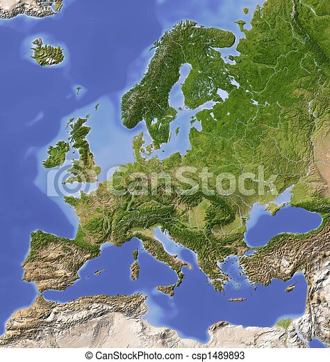 Europe, shaded relief map - csp1489893