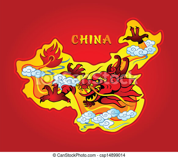 vector clip art of china dragon   map of china with a