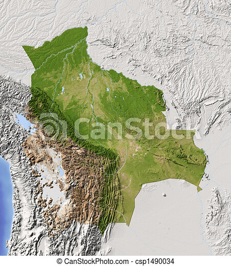 Bolivia, shaded relief map - csp1490034