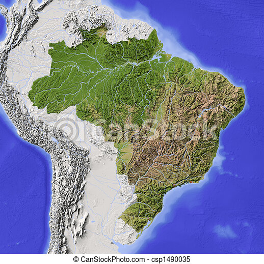Brazil, shaded relief map - csp1490035