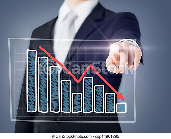 businessman hand with chart on virtual screen - csp14901295