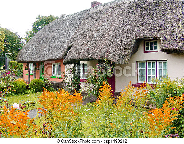 Typical thatched roof cottage in Ireland - csp1490212