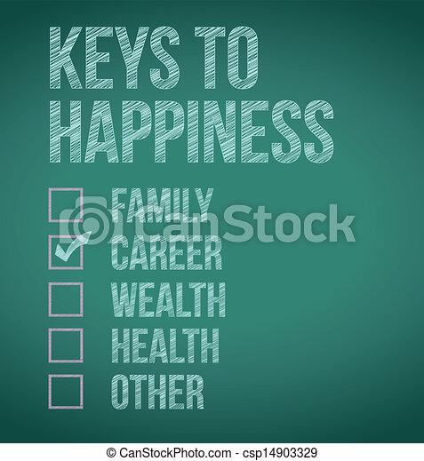 teclas, carreira, felicidade, Ilustração - csp14903329