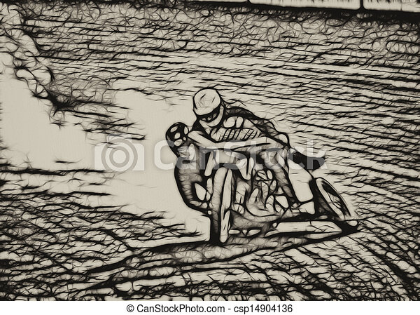 drawings of sepia abstract dirt track sidecar motorcycle