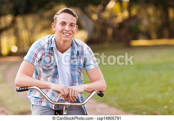 teen boy with his bicycle - csp14905791