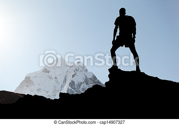 Man hiking silhouette - csp14907327