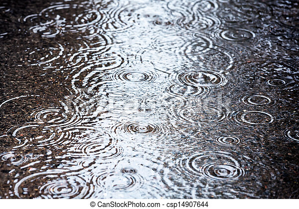 Rain puddles with sky reflection