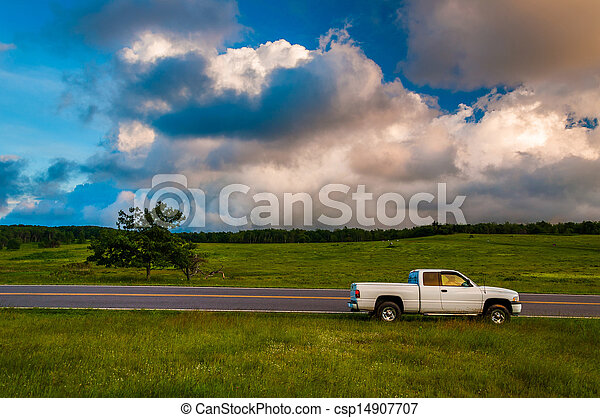 White truck along road in Big Meadows, Shenandoah National Park, Virginia. - csp14907707