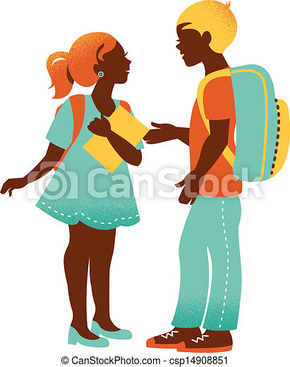 School boy and girl. Vintage student silhouettes. Back to school illustration - csp14908851