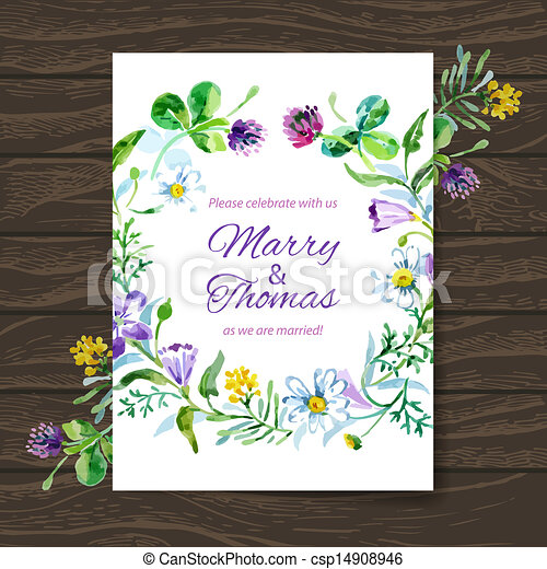 Wedding invitation card with watercolor floral bouquet. Vector background - csp14908946