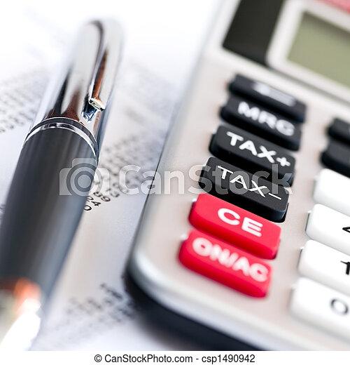 Tax calculator and pen - csp1490942