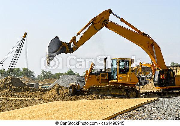 construção, local, máquinas - csp1490945