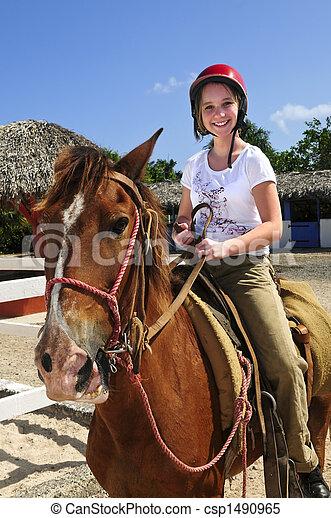 Girl riding horse - csp1490965
