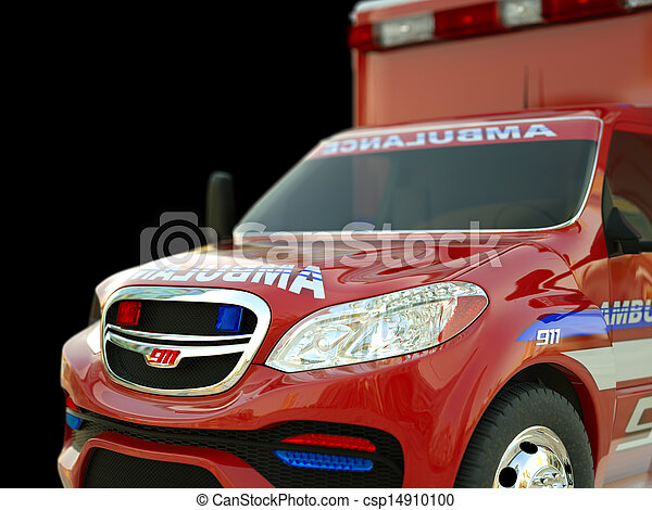 Ambulance: Closeup view of emergency services vehicle on black - csp14910100