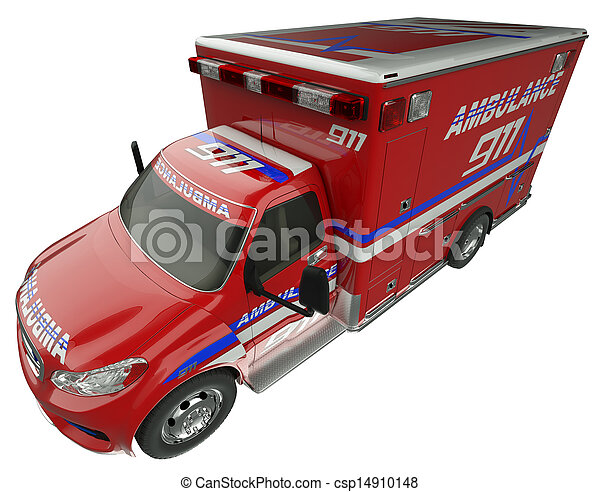 Ambulance: Top Side view of emergency services vehicle isolated - csp14910148