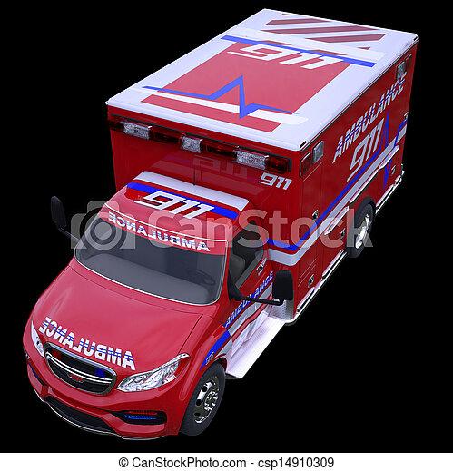 Emergency call and 911: ambulance van isolated on black  - csp14910309