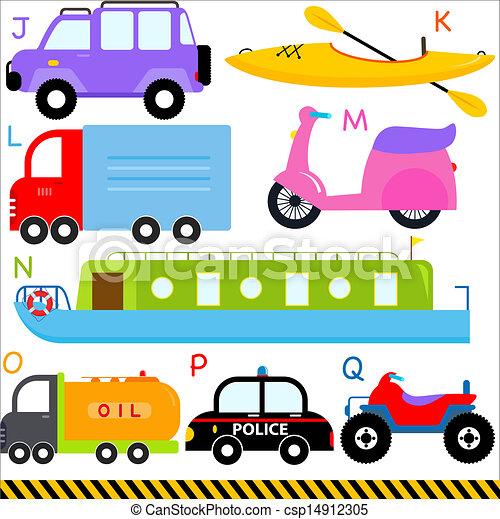 Alphabet Letters J-Q, Car, Vehicles, Transportation - csp14912305