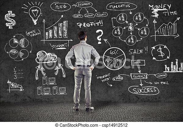 グランジ, ビジネス, 壁, 計画, スーツ, ビジネスマン - csp14912512