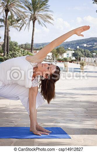 Woman stretching yoga  - csp14912827