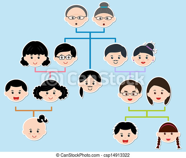 Vector Icons: Family Tree, A diagram on a genealogical tree, on blue ...