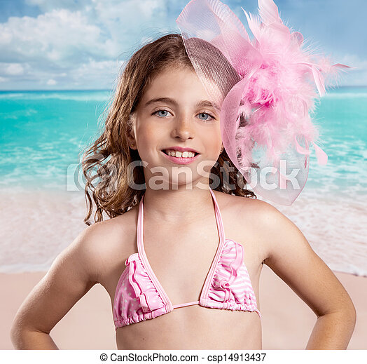 Children fashion girl in tropical turquoise beach vacations - csp14913437