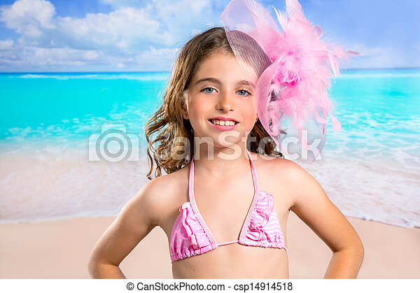 Children fashion girl in tropical turquoise beach vacations - csp14914518