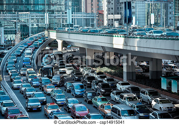 automobile congestion in the morning rush hour - csp14915041