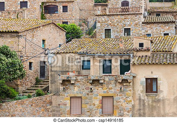 Historic houses at Tossa de Mar, Spain - csp14916185