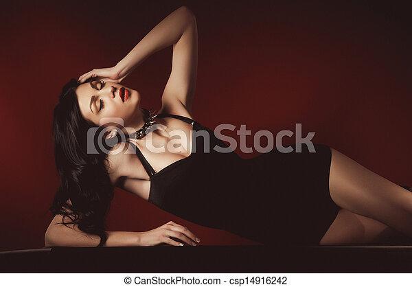 woman in a dark dress - csp14916242