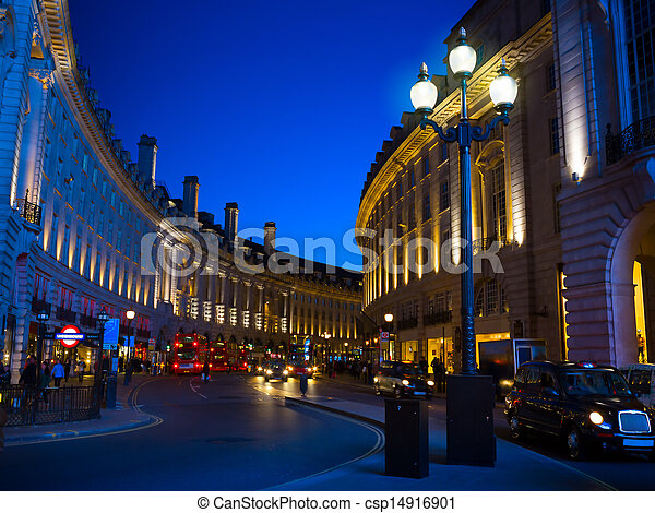 art Piccadilly Circus in London by night - csp14916901