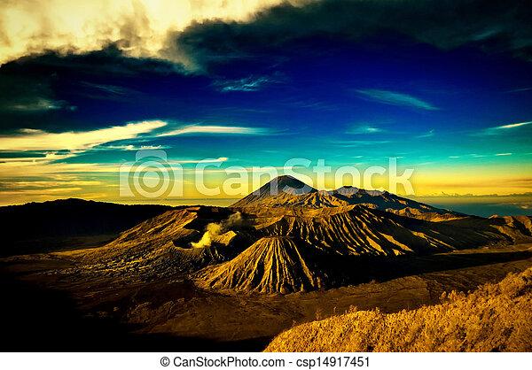 Bromo mountain under cloudy sky - csp14917451