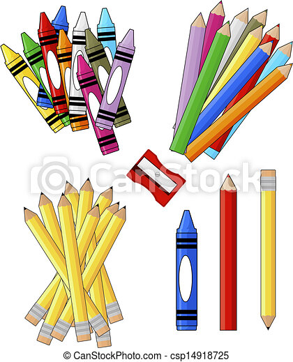 Vector Illustration of school supplies groups clip art isolated on ...
