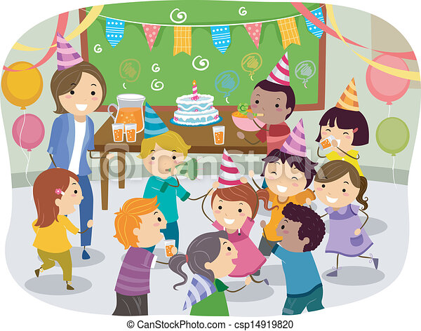 Line art eps picture pictures graphic graphics drawing drawings - Vector Illustration Of Stickman Kids School Birthday Party
