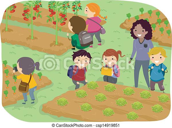 Clipart Vector of Stickman Kids School Trip to Vegetable ...