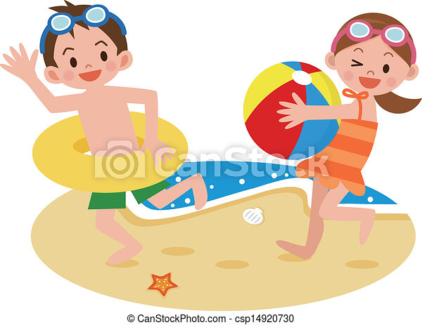 Vector - Children playing on the beach - stock illustration  royalty    Kids Playing On The Beach Clipart