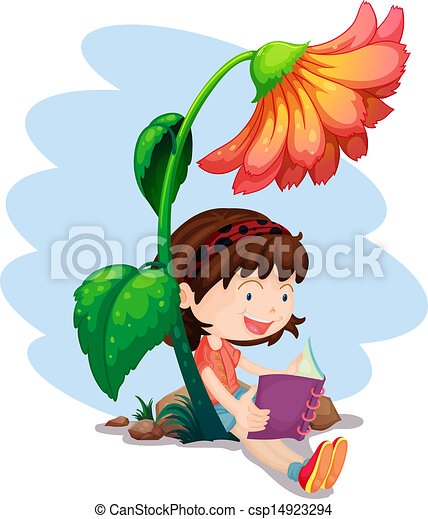 Eps Vectors Of A Girl Reading A Book Below The Giant