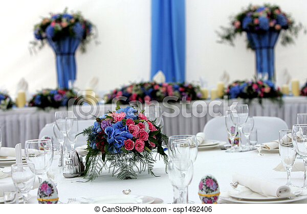 Laid table at wedding reception - csp1492406