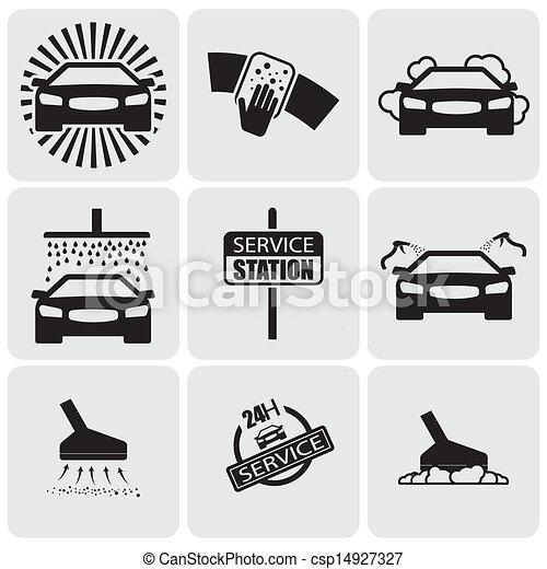 Illustration vecteur de graphique ensemble voiture laver vecteur nettoyage csp14927327 - Coloriage car wash ...