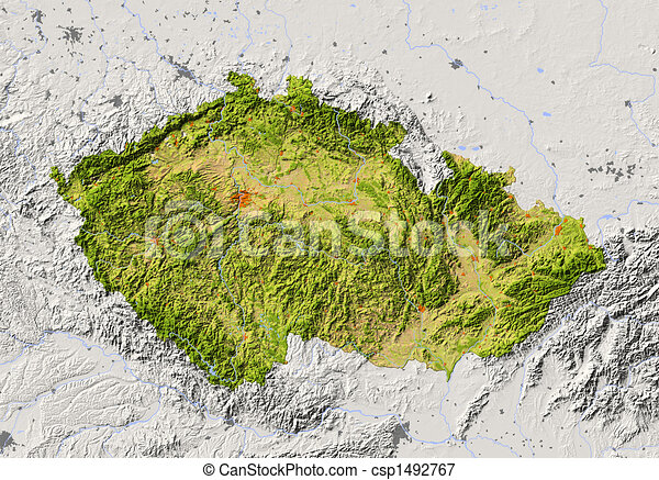 Czech Republic, shaded relief map - csp1492767