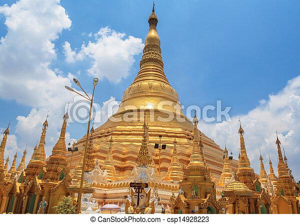 Shwedagon pagoda in Yangon, Burma (Myanmar) - csp14928223