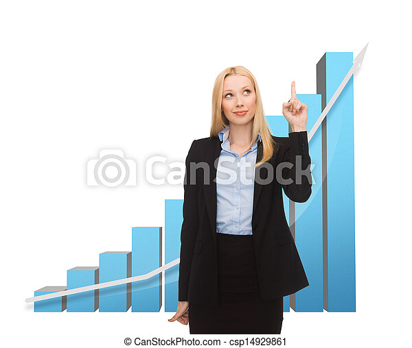 businesswoman pointing at big 3d chart - csp14929861