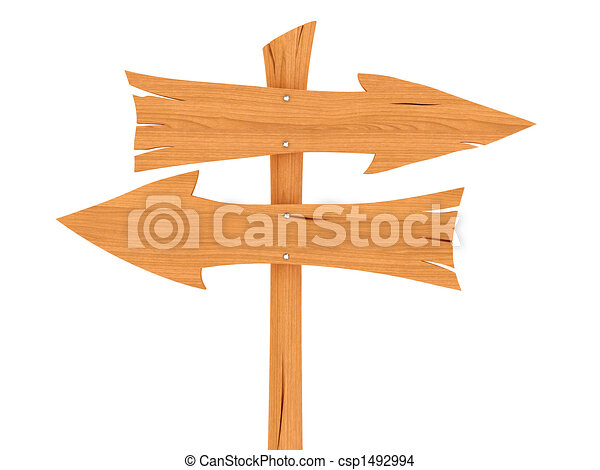Two blank wooden direction signs - csp1492994
