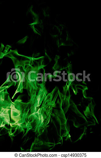 Picture of green fire on black background - green flames of fire ...