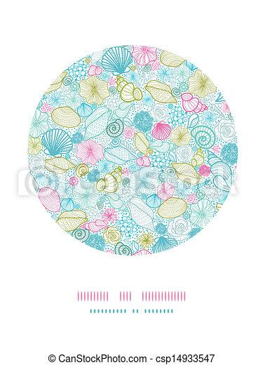Seashells line art circle decor pattern background - csp14933547